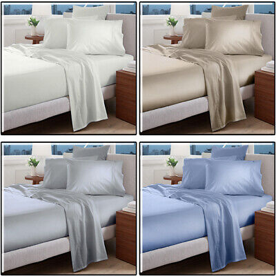 AU64.95 • Buy Egyptian Cotton Bed Sheet Set 1000TC 4 PCS Flat Fitted Queen King Double Single