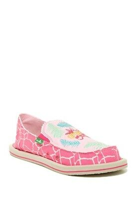 Sanuk Big Girls 5 Scribble Shoes Slippers Sidewalk Surfer Shoes Slip Ons Pink • 19.25£