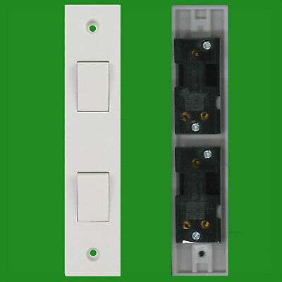 £3.99 • Buy 2 Way 2 Gang White Plastic Architrave Horizontal Wall Light Switch 10A