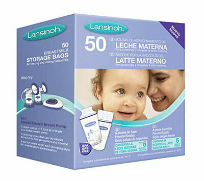 Pack Of 50 Breast Milk Storage Bags Leak Proof Breastmilk Pouches Lansinoh • 11.99£