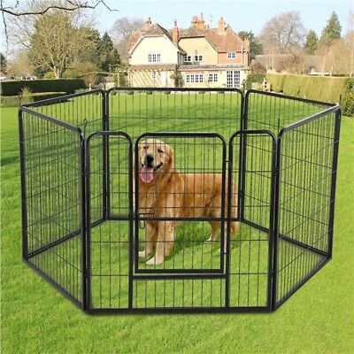 Heavy Duty 6 Panel Puppy Dog Playpen Exercise Pen Cat Fence Whelping Box Black • 75.99£