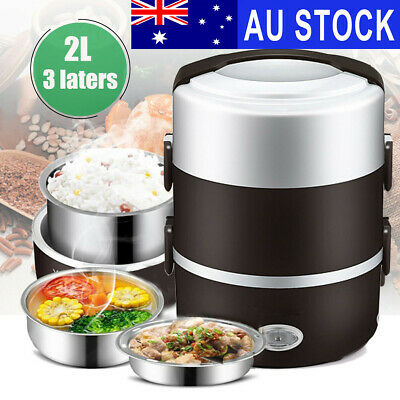 AU33.80 • Buy AU 2L 3 Layer Portable Electric Lunch Box Rice Cooker Stainless Steamer Pot #