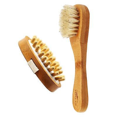 Body Anti Cellulite Massage Brush + Wooden Face Cleansing Exfoliating Brush • 7.96£