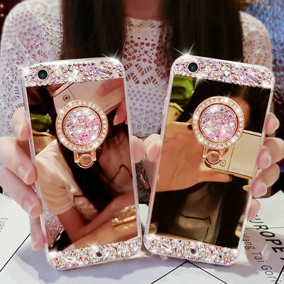 AU10.09 • Buy Bling Diamond Crystal Ring Holder Kickstand Mirror Case Cover For IPhone Galaxy
