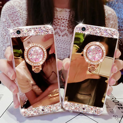 AU10.68 • Buy Bling Diamond Crystal Ring Holder Kickstand Mirror Case Cover For IPhone Galaxy