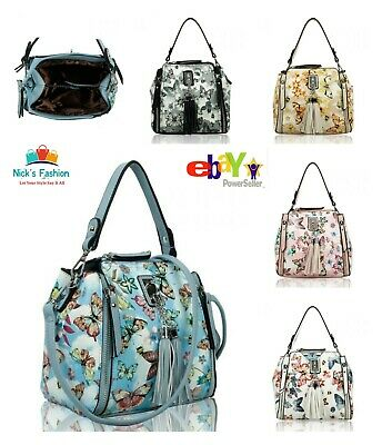 £15.49 • Buy Womens Girls Stylish Butterfly Print Messenger Bag With Front Zip & Tassel Charm