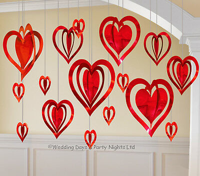 16 Red Love Heart 3D Hanging Party Decorations Engagement Wedding Anniversary • 6.95£