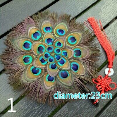Peacock Marabou Feather Hand Fan Double Side Handmade Vintage Pagan Wicca Gift • 15.97£