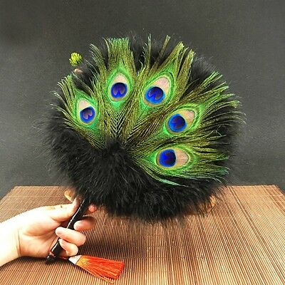 Peacock Feather Hand Fan Round Chinese Home Decor Wedding Dance Costume Handmade • 23.74£