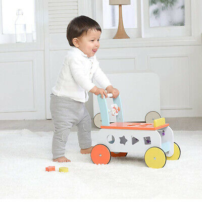 2 In 1 Baby Walker First Steps Activity Toys Car Push Along Riding On Wooden Car • 39.99£