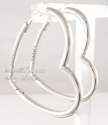 ad0ea8a67 ASYMMETRIC HEARTS OF LOVE Authentic PANDORA Hoop EARRINGS Small 297822 W  POUCH! • 44.95$