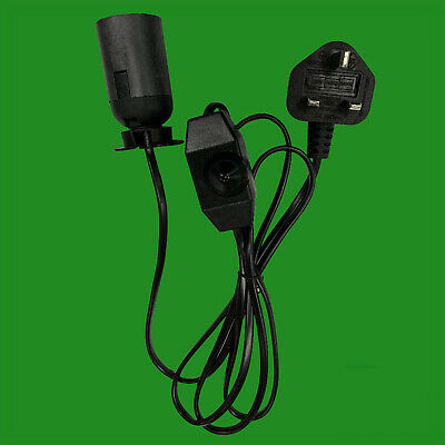 ES E27 Black UK Plug Light Bulb Holder Inline Dimmer Switch Desk Table Salt Lamp • 7.99£