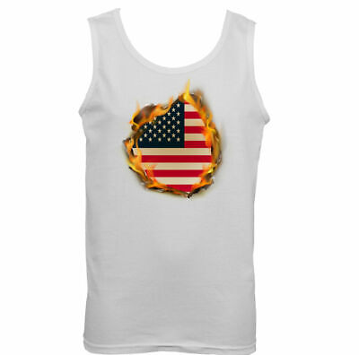 £9.99 • Buy USA National Flag Flames Mens American Vest Stars & Stripes 4th Of July Top