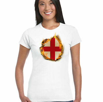 £8.95 • Buy England Flag Flames Womens English T-Shirt St Georges Day Rugby Football Top Kit