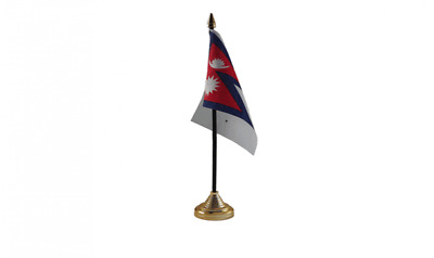 Nepal 6  X 4  Desk Table Flag With Gold Plastic Cone Base • 6.99£