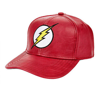 b461239a6b424 DC Comics Official Bioworld The Flash Red Faux Leather Snapback Cap OSFA  NWT • 18.60