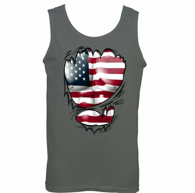 £9.99 • Buy Ripped Torn USA Flag Mens American Vest Stars & Stripes Independence Day Top