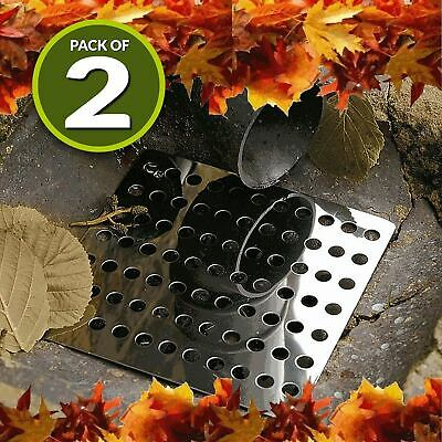 2x Swirl Drain Guard 6 /15cm Square Rustproof Stainless Steel Cover Plate Grate • 6.95£
