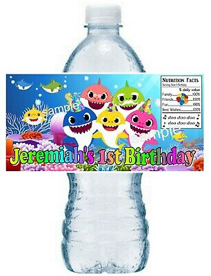 $7.99 • Buy 20 BABY SHARK BIRTHDAY PARTY FAVORS WATER BOTTLE LABELS ~ Waterproof Ink