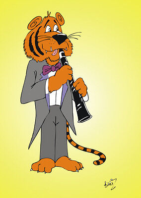 £3.25 • Buy Tiger Playing Clarinet; Artist: Barry Lee, GREETINGS CARDS, SP264