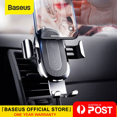 AU25.99 • Buy Baseus 10W Qi Wireless Charger Car Mount Holder For IPhone XS X Samsung S9 S10+