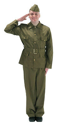 Mens Dads Army Costume 1940s British WWII Soldier Adult Military Outfit NEW L • 39.99£
