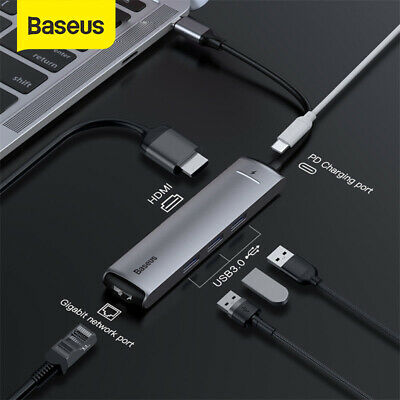 AU59.99 • Buy Baseus 6in1 USB HUB Adapter Type C To USB 3.0 HDMI RJ45 PD Port For MacBook Pro
