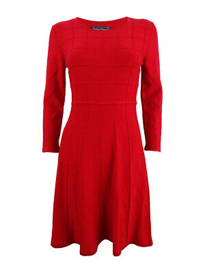 £36.55 • Buy Jessica Howard Women's Grid Fit & Flare Sweater Dress (M, Red)
