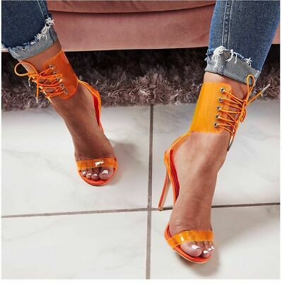 341af47aa662 Sexy Gladiator Transparent PVC Peep Toe Lace Up High Heel Sandals Shoes  35-43 •