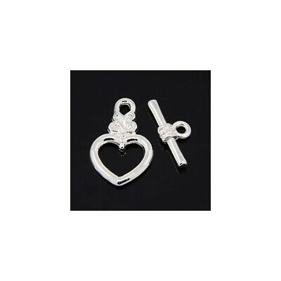 Heart Toggle Clasps Silver Metal Alloy 13x20mm  20 Pcs AFindings DIY Jewellery • 3.09£