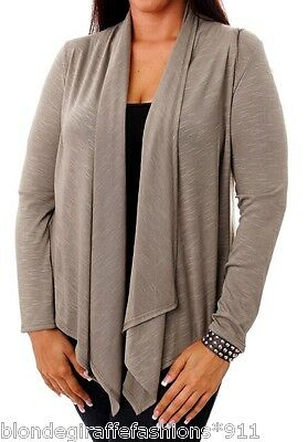 £17.45 • Buy Taupe Long Sleeve Asymmetrical Scarf Drape Front Cardigan/Cover-Up Plus