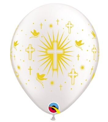 10 White Gold Cross Helium/Air Balloons 1st Holy Communion Boy Girl Party Decor • 4.95£