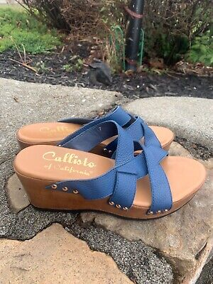 $17.99 • Buy Callisto Of California Sandals Slides Boho Retro  Size 7M Blue Leather ECU