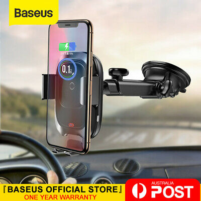 AU35.99 • Buy Baseus 10W Qi Car Wireless Charger Phone Holder For IPhone XS X 8 Samsung S10 S9