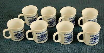 8 Arcopal Honorine Made In France Cups Coffee Mugs Blue White Floral • 42$