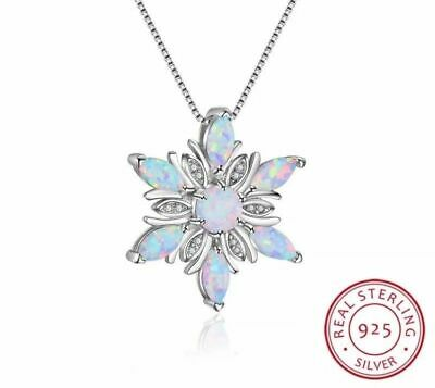 £22.99 • Buy Stunning Opal & 925 Sterling Silver Snowflake Necklace Pendant Chain