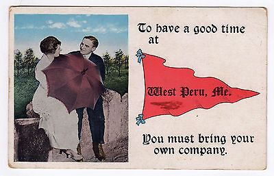 $14.99 • Buy WEST PERU MAINE Lovers Pennant Series PC Postcard LOVERS' Couple NEW ENGLAND ME