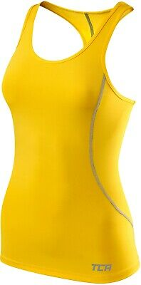 TCA Performance Womens Base Layer Vest Yellow Exercise Gym Running Workout Tank • 7.99£