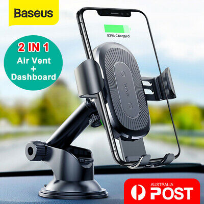 AU29.99 • Buy Baseus USB Qi Wireless Car Charger Mount Holder For IPhone XS XR 8 Samsung S10