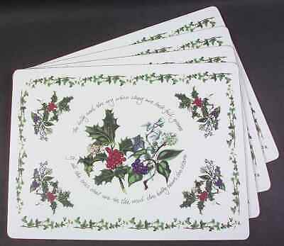 Portmeirion THE HOLLY & THE IVY Set Of 4 Corkboard Placemats (Pimpernel) 6429874 • 37.99$