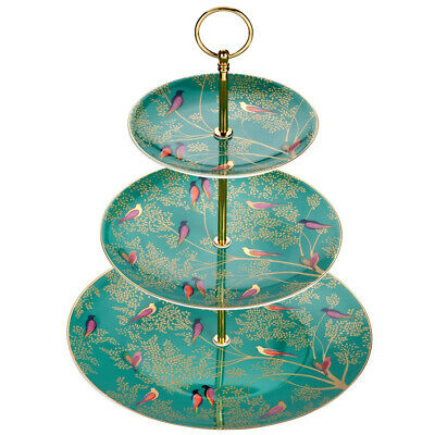 £41.99 • Buy Sara Miller 3 Tier Cake Stand Chelsea Collection Green Birds From Portmeirion
