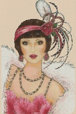 Art Deco Lady Cross Stitch Chart  Art Deco Lady 90 Flowerpower37-uk. • 3.50£