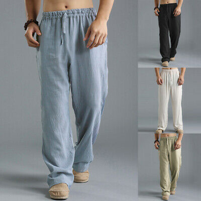 $17.47 • Buy US STOCK Mens Casual Linen Baggy Yoga Beach Solid Loose Pants Chinese Trousers