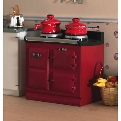 1/12 Scale Dolls House Emporium Small Red/Burgandy Aga-style Stove 2941 • 9.95£