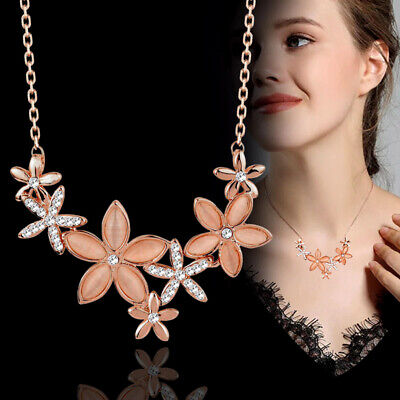 AU7.83 • Buy Charm Opal&Crystal Flowers Necklaces For Women Rose Gold Plated Jewelry