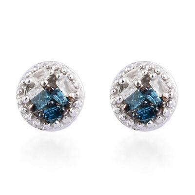 View Details TJC White Diamond Stud Earrings In Platinum Plated Silver With Blue Diamond • 10.99£