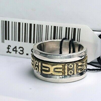 Solid 925 Sterling Silver Two Tone Spinning Big Spinner Ring Him Her Gift Boxed • 19.99£