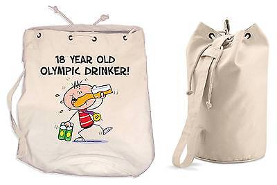 OLYMPIC DRINKER 18th BIRTHDAY DUFFLE BAG - Gift Present Backpack • 13.99£