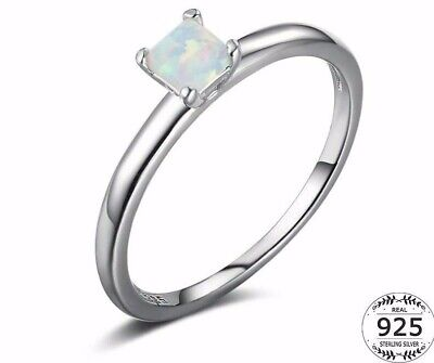 Stunning 925 Sterling Silver White Fire Opal Princess Cut Solitaire Ring Size N • 14.99£