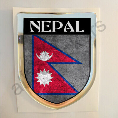 Nepal Sticker Resin Domed Stickers Flag Grunge 3D Adhesive Decal Gel Car Moto • 5.25£